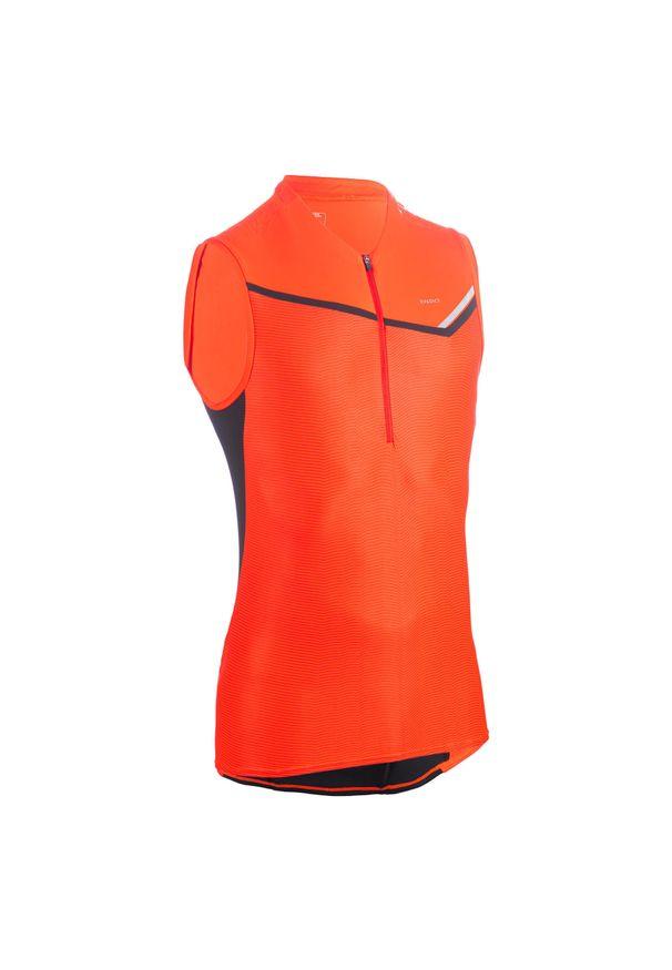 EVADICT - Koszulka do biegania w terenie bez rękawów męska. Kolor: czerwony. Materiał: skóra, mesh, materiał. Długość rękawa: bez rękawów. Sport: bieganie