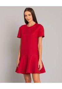 VALENTINO - Czerwona sukienka mini. Kolor: czerwony. Materiał: jedwab, wełna, materiał. Typ sukienki: rozkloszowane. Styl: klasyczny, elegancki. Długość: mini