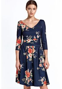 Sukienka wizytowa w kwiaty, rozkloszowana, z dekoltem w kształcie v