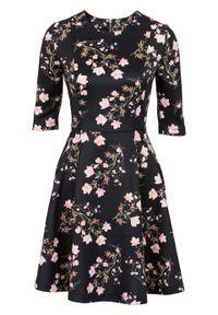 Czarna sukienka bonprix w kwiaty