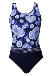Kostium kąpielowy shape Level 1 bonprix niebiesko-biały. Kolor: niebieski