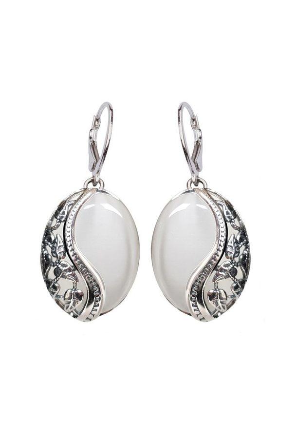 Polcarat Design - Kolczyki z kamieniem Kocie oko oksydowane srebro K 1716 Kocie oko. Materiał: srebrne. Wzór: aplikacja. Kamień szlachetny: koral, turkus, onyks
