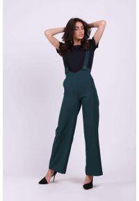 Nommo - Zielone Spodnie z Prostymi Nogawkami na Szelkach. Kolor: zielony. Materiał: wiskoza, poliester