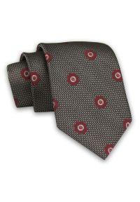 Brązowy Męski Krawat -Chattier- 7,5cm, Klasyczny, Elegancki, w Bordowe Kwiatki, Motyw Florystyczny. Kolor: beżowy, czerwony, brązowy, wielokolorowy. Materiał: tkanina. Wzór: kwiaty. Styl: klasyczny, elegancki