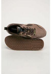 Brązowe buty sportowe Trussardi Jeans na średnim obcasie, z okrągłym noskiem, na sznurówki
