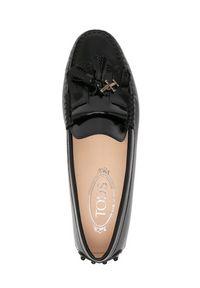 TOD'S - Czarne loafery Gommino. Nosek buta: okrągły. Kolor: czarny. Materiał: lakier. Wzór: aplikacja