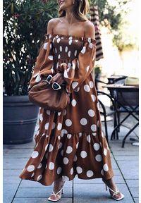 Wielokolorowa długa sukienka IVET casualowa, w kropki