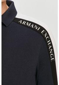 Niebieska koszulka z długim rękawem Armani Exchange na co dzień, z nadrukiem, casualowa