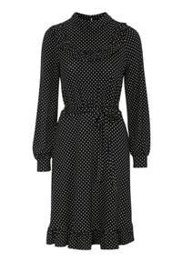 Happy Holly Sukienka dżersejowa Miranda Czarny w kropki female czarny/ze wzorem 40/42. Typ kołnierza: kołnierzyk stójkowy. Kolor: czarny. Materiał: jersey. Wzór: kropki