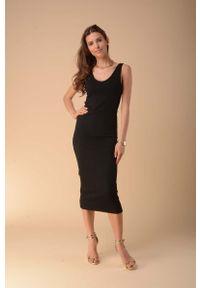 Czarna sukienka wizytowa Nommo na ramiączkach, ołówkowa