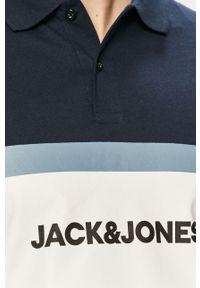 Niebieska koszulka polo Jack & Jones z nadrukiem, polo, na co dzień