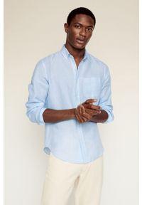 Niebieska koszula Mango Man gładkie, button down