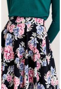 Marie Zélie - Spódnica Farin Frisia czarna. Kolor: czarny. Materiał: jersey, bawełna, dzianina, materiał, elastan, skóra, guma