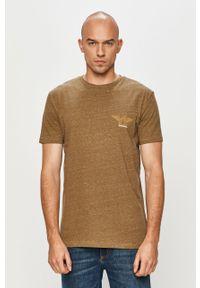 Zielony t-shirt Quiksilver na co dzień, z nadrukiem, casualowy