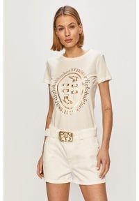 Kremowa bluzka Trussardi Jeans na co dzień, klasyczna, z nadrukiem