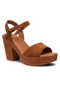Brązowe sandały Clara Barson z aplikacjami, na co dzień, casualowe