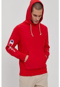 Champion - Bluza bawełniana. Okazja: na co dzień. Kolor: czerwony. Materiał: bawełna. Wzór: aplikacja. Styl: casual