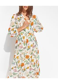 HERZEN'S ANGELENGEHEIT - Sukienka midi z kwiatowym wzorem. Typ kołnierza: dekolt w kształcie V. Kolor: zielony. Materiał: wiskoza. Długość rękawa: długi rękaw. Wzór: kwiaty. Sezon: lato. Styl: wakacyjny. Długość: midi