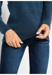 Niebieski sweter bonprix długi, melanż