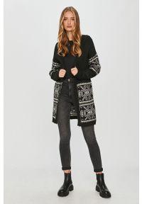 Czarny sweter rozpinany Answear Lab wakacyjny, na co dzień, długi, z długim rękawem