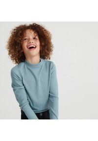 Reserved - Prążkowana bluzka - Turkusowy. Kolor: turkusowy. Materiał: prążkowany