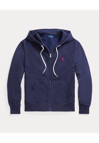 Ralph Lauren - RALPH LAUREN - Granatowa bluza z kapturem Relaxed fit. Typ kołnierza: kaptur. Kolor: niebieski. Materiał: polar. Wzór: haft