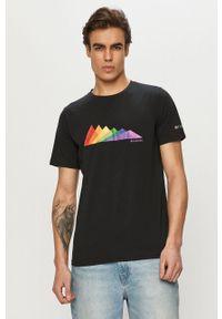 columbia - Columbia - T-shirt. Okazja: na co dzień. Kolor: czarny. Materiał: skóra. Wzór: nadruk. Styl: casual