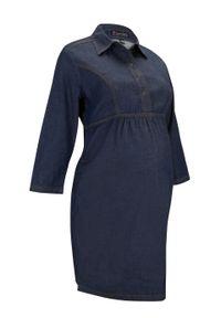 Sukienka dżinsowa ciążowa i do karmienia piersią bonprix ciemny denim. Kolekcja: moda ciążowa. Kolor: niebieski. Materiał: denim
