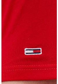 Tommy Jeans - T-shirt bawełniany. Kolor: czerwony. Materiał: bawełna. Wzór: nadruk