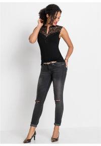 Shirt z koronką bonprix czarny. Kolor: czarny. Materiał: koronka. Długość rękawa: bez rękawów. Wzór: koronka