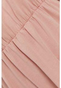 Vila - Sukienka. Kolor: różowy. Materiał: dzianina, bawełna. Długość rękawa: krótki rękaw. Wzór: gładki. Typ sukienki: rozkloszowane
