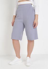 Niebieskie spodnie z wysokim stanem Born2be