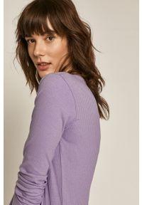 Fioletowa bluzka z długim rękawem medicine gładkie, na co dzień, casualowa