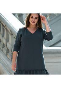 Szara sukienka dla puszystych Moda Size Plus Iwanek z dekoltem w kształcie v, na jesień