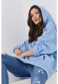 Niebieska bluza Answear Lab z kapturem, długa, wakacyjna, z długim rękawem