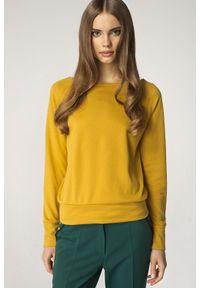 Nife - Prosty Żółty Sweter z Półokrągłym Dekoltem. Kolor: żółty. Materiał: wiskoza, poliester