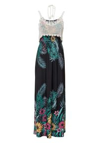 Długa sukienka z szydełkową wstawką bonprix ciemnoniebieski w kwiaty. Kolor: niebieski. Wzór: kwiaty. Długość: maxi