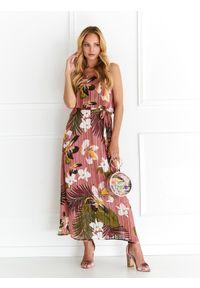 Różowa sukienka TOP SECRET koszulowa, maxi
