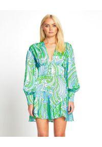 ALICE MCCALL - Sukienka mini Mexicola. Kolor: zielony. Materiał: wiskoza. Wzór: kwiaty, nadruk. Typ sukienki: rozkloszowane. Długość: mini