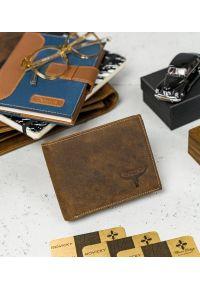 BUFFALO WILD - Skórzany portfel męski j. brązowy Buffalo Wild RM-02-HBW TAN. Kolor: brązowy. Materiał: skóra