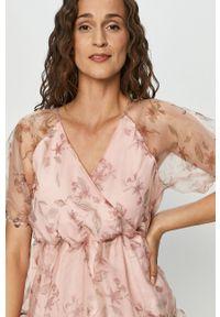 Różowa sukienka Vila z krótkim rękawem, rozkloszowana, mini #5