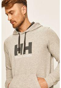Szara bluza nierozpinana Helly Hansen na co dzień, z aplikacjami, z kapturem, casualowa