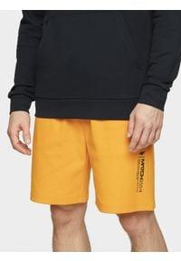 4f - Spodenki dresowe męskie. Okazja: na co dzień. Kolor: pomarańczowy. Materiał: dresówka. Styl: casual