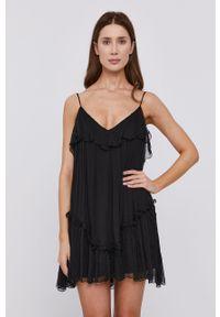 Czarna sukienka Nissa na ramiączkach, gładkie, mini, rozkloszowana