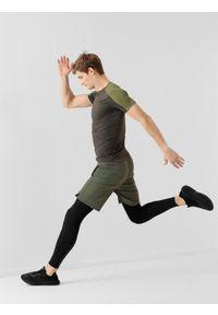 Czarne legginsy sportowe 4f z nadrukiem, na fitness i siłownię