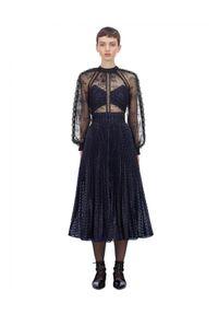 SELF PORTRAIT - Granatowa sukienka midi. Kolor: czarny. Materiał: materiał. Wzór: kwiaty, ażurowy. Długość: midi