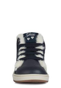 Niebieskie buty zimowe Geox na zimę, z cholewką, na sznurówki, z okrągłym noskiem