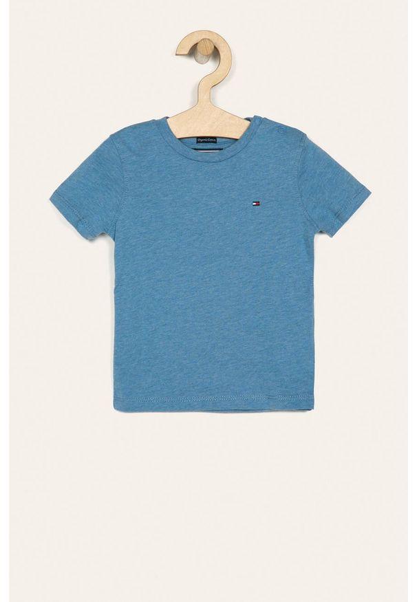 Niebieski t-shirt TOMMY HILFIGER casualowy, na co dzień, z okrągłym kołnierzem