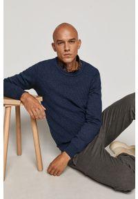 Niebieski sweter medicine casualowy, długi, z długim rękawem