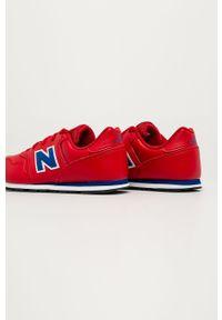 Czerwone buty sportowe New Balance z cholewką, z okrągłym noskiem, na sznurówki